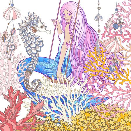 Ręcznie narysowała syrenę z długimi różowymi włosami w podwodnym świecie. Ilustracji wektorowych linii czasowych.