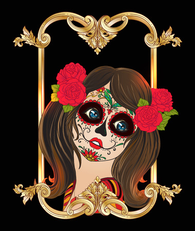 traje mexicano: Portrait of a young beautiful girl in Halloween party Vectores