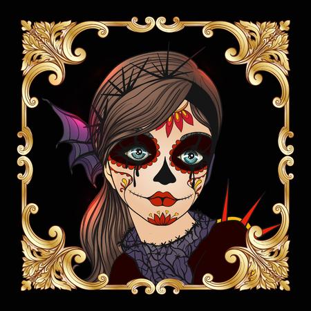 ハロウィーンや死者の日の美しい少女の肖像画