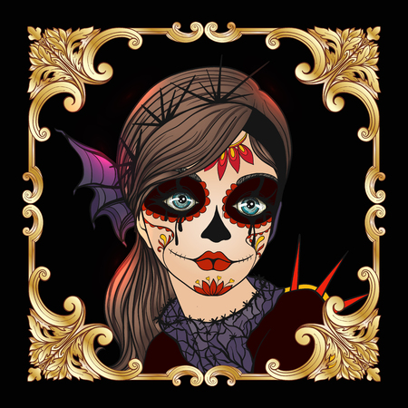 Portrait of a young beautiful girl in Halloween or Day of the Dead
