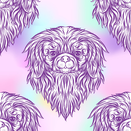 pink and black: Seamless pattern with black and white graphic drawing of a Pekingese dog head. Vector illustration.