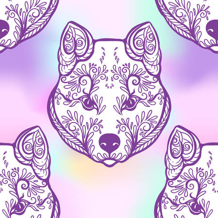 pink and black: Seamless pattern with black and white graphic drawing of a Kishu dog head. Vector illustration.