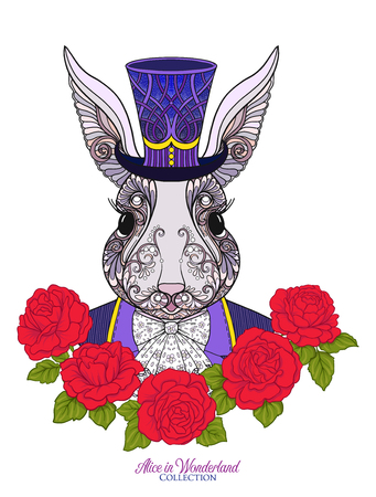 Hare or rabbit in the hat from the fairy tale Alice in Wonderland with decorative pattern. Stock line vector illustration. Ilustração