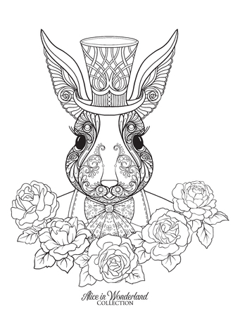 Hare or rabbit in the hat from the fairy tale Alice in Wonderland with decorative pattern. Outline hand drawing coloring page for the adult coloring book. Stock line vector illustration.