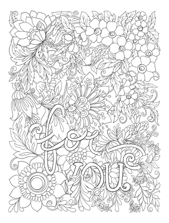 Banner, poster, invitation background with abstract decorative summer flowers with lettering for you . Stock line vector illustration outline hand drawing coloring page for the adult coloring book. Фото со стока - 87528512
