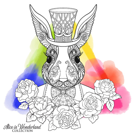 decorate notebook: Hare or rabbit in the hat from the fairy tale Alice in Wonderland with roses on watercolor background. Stock line vector illustration. Illustration