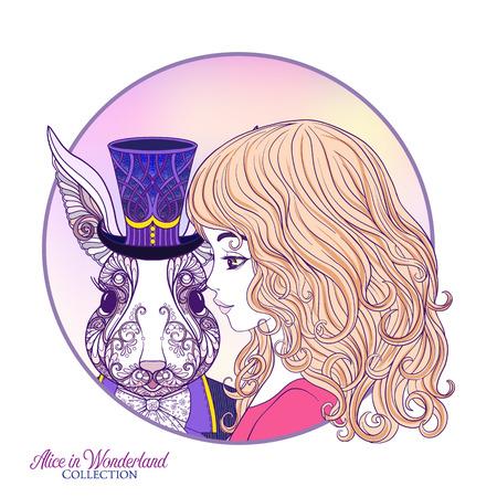 Lepre o coniglio nel cappello della fiaba con Alice. Questa illustrazione può essere utilizzata come una stampa su magliette, borse, tatuaggi, distintivi o patch. Illustrazione di vettore di linea stock.