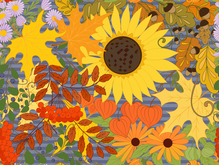 Seamless pattern, background with autumn flowers, leaves and plants. Vector illustration.