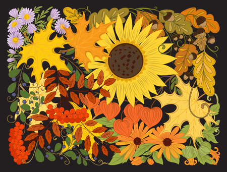 Composition with autumn flowers, leaves and plants. Stock line vector illustration.