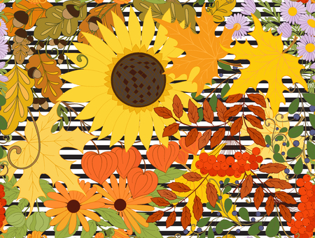 Seamless pattern, background with autumn flowers, leaves and plants on black and white stripes. Vector illustration.