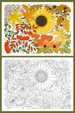 Composition with autumn flowers, leaves and plants. Stock line vector illustration. Colored and outline hand drawing coloring page for adult coloring book Ilustracja