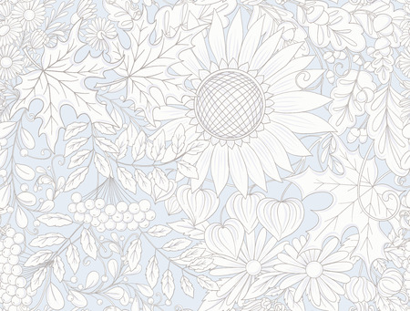 Seamless pattern, background with autumn flowers, leaves and plants in vintage blue colors. Vector illustration. Ilustracja