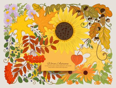 秋の花が咲くバナー、ポスター、招待状  イラスト・ベクター素材