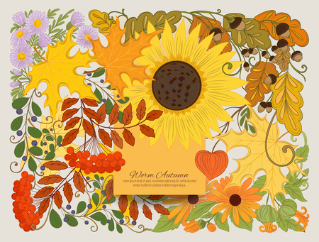 Banner, poster or invitation with autumn flowers
