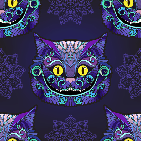 Cheshire cat head from the fairy tale. Ilustração
