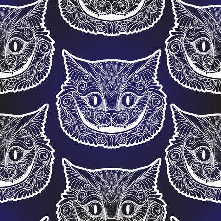 Cheshire cat head from the fairy tale. Seamless pattern, background. Stock line vector illustration.