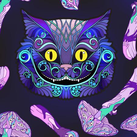 Cheshire-kattenhoofd van het sprookje en de paddestoelen. Naadloos patroon, achtergrond. Voorraad regel vector illustratie.