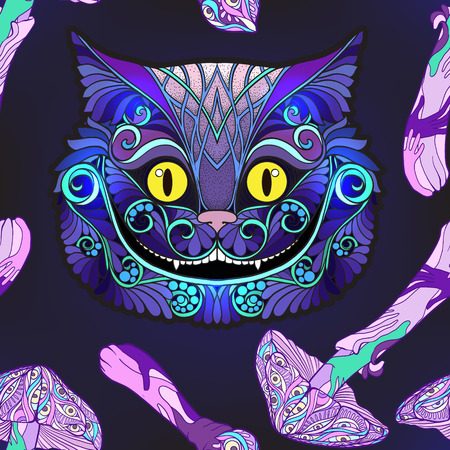 Cheshire cat head from the fairy tale and mushrooms. Seamless pattern, background. Stock line vector illustration.