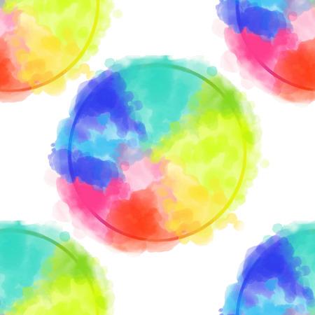 기하학적 인 도형의 천연색 된 수채화 패턴으로 원활한 패턴 색 원. 주식 라인 벡터 일러스트 레이 션.