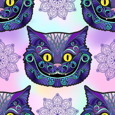 Cheshire cat head from the fairy tale on vanilla background. Seamless pattern, background. Stock vector illustration. Reklamní fotografie - 87572767