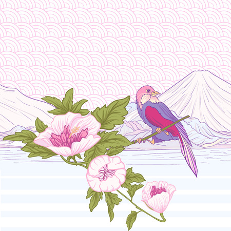 Flowers and bird and Mount Fuji. Seamless pattern, background. Colorful in pink and green colors. Stock vector.