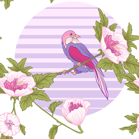 Flowers and bird and sun. Seamless pattern, background. Colorful in pink and green colors. Stock vector.