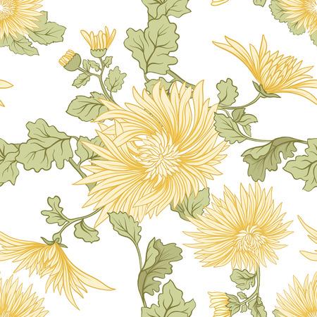 菊。黄色の日本菊のシームレスなパターン。白地。株式ベクトル。  イラスト・ベクター素材