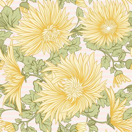 국화. 노란색 일본 국화의 원활한 패턴입니다. 배경 주식 벡터에.