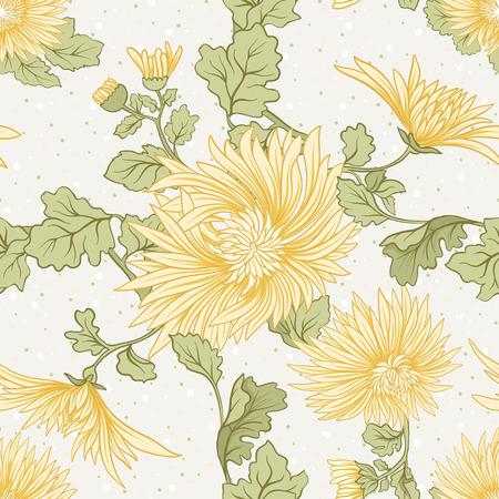 Chrysanthème. Modèle sans couture de chrysanthèmes japonais jaunes. Sur un fond avec un pois. Vecteur stock Banque d'images - 87572815