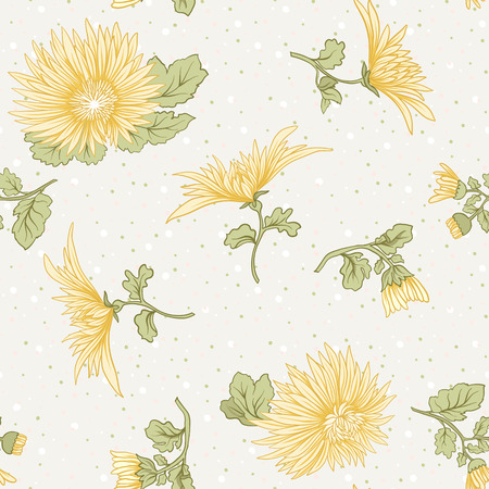 Chrysanthemum. Seamless pattern of yellow Japanese chrysanthemums. On a background with polka dot. Stock vector.