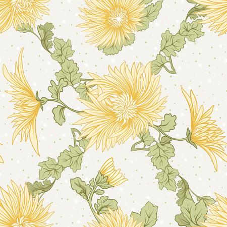 국화. 노란색 일본 국화의 원활한 패턴입니다. 폴카 도트를 배경으로. 주식 벡터입니다.