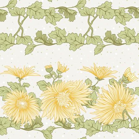 菊。黄色の日本菊のシームレスなパターン。水玉模様の背景。株式ベクトル。