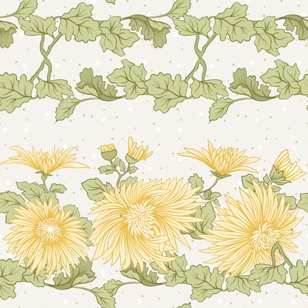 Chrysanthemum. Seamless pattern of yellow Japanese chrysanthemums. On a background with polka dot. Stock vector. Stock fotó - 87572819