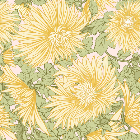 Chrysanthemum. Seamless pattern of yellow Japanese chrysanthemums. On a background Stock vector.
