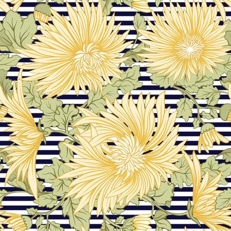 菊。黄色の日本菊のシームレスなパターン。黒のストライプの背景。株式ベクトル。
