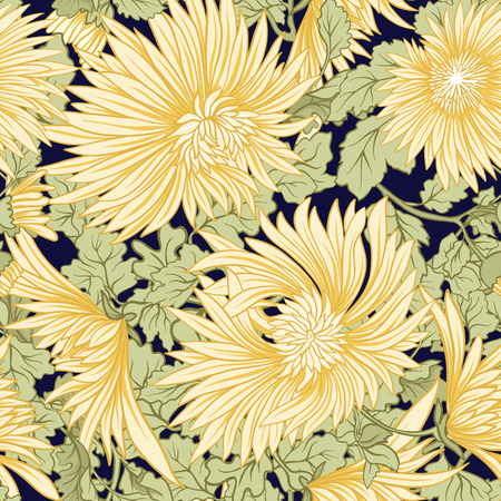 Chrysanthemum. Seamless pattern of yellow Japanese chrysanthemums. On a black stripes background. Stock vector. Stock fotó - 87572826