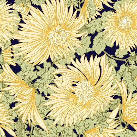 Chrysanthemum. Seamless pattern of yellow Japanese chrysanthemums. On a black stripes background. Stock vector.