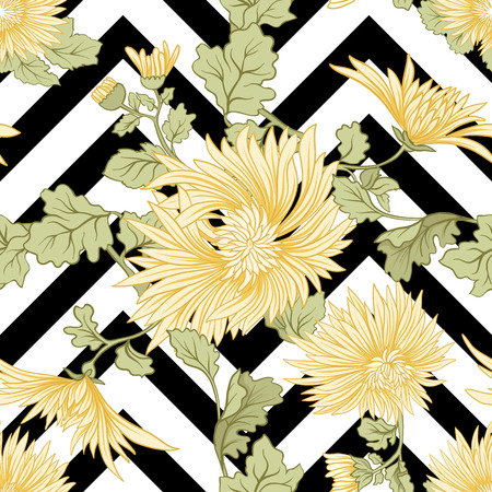 Chrysanthemum. Seamless pattern of yellow Japanese chrysanthemums. On a black stripes background. Stock vector.
