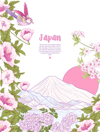 Japanese Landscape with Mount Fuji and tradition flowers and a bird. Poster or postcard. Vector stock. Illustration