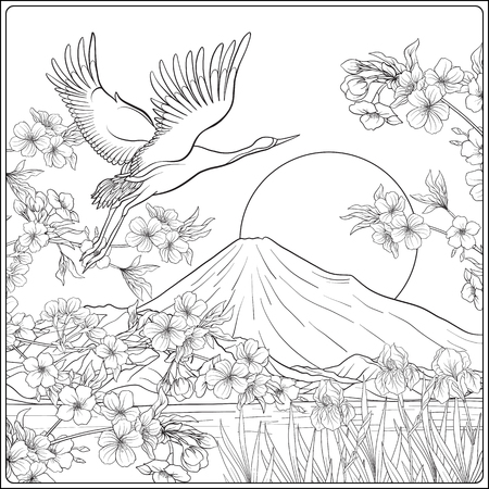 Japanese Landscape with Mount Fuji and tradition flowers and a bird. Outline drawing coloring page. Coloring book for adult. Vector stock illustration.
