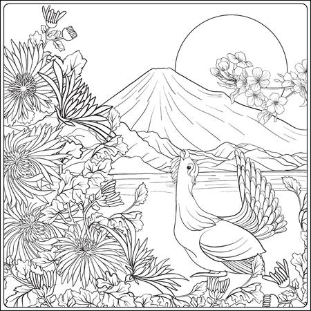 후지산과 전통 꽃과 새가있는 일본 풍경.