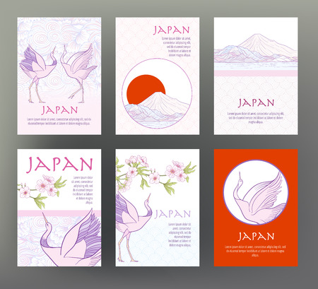 Set of 6 cards or banners with Japanese tradition symbols, flowe Illustration