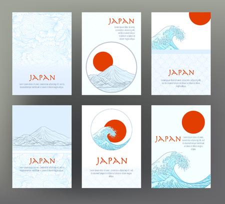 일본 전통 기호가있는 6 장의 카드 또는 배너 세트, flowe