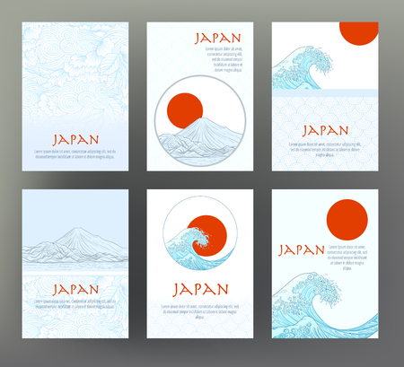 Set of 6 cards or banners with Japanese tradition symbols, flowe Stock Illustratie