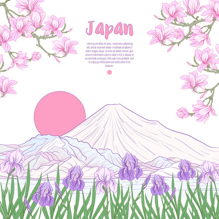 Japanese Landscape with Mount Fuji and tradition flowers and a b