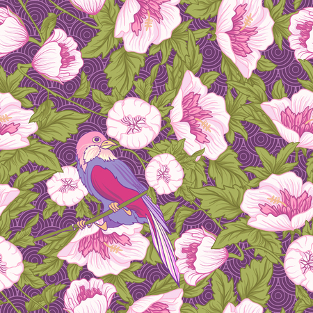 Flowers and bird. Seamless pattern, background. Colorful in pink