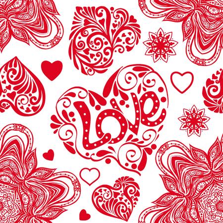 愛の心と曼荼羅白と赤の色のシームレスなパターン