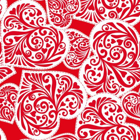 バレンタインの白と赤の色で愛心のシームレス パターン