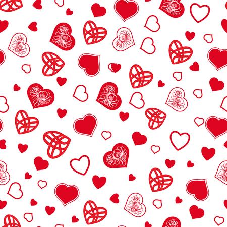 Het naadloze patroon van het liefdehart in witte en rode kleuren voor Valentijnskaart