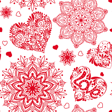 Love heart and mandalas seamless pattern in white and red colors 向量圖像